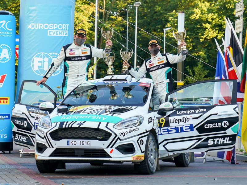 REINIS NITIŠS ON THE PODIUM IN FIA EUROPEAN RALLY CHAMPIONSHIP ROUND RALLY LIEPĀJA